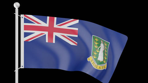 FLAG OF THE BRITISH VIRGIN ISLANDS WAVE W/ALPHA CHANNEL Animation