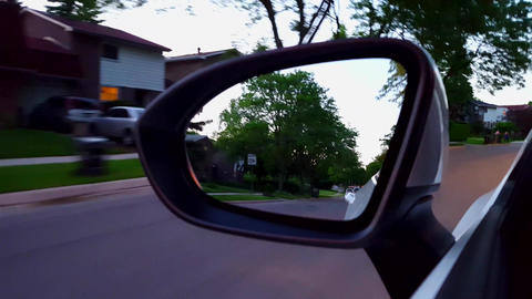 *Fast Motion* Collage of Side Mirror Driving on Rural and Suburb Road in Day. Driver Point of View Live Action