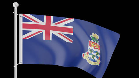 FLAG OF THE CAYMAN ISLANDS WAVE W/ALPHA CHANNEL Animation