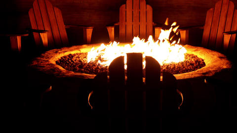 Chairs arranged around a cozy backyard fire pit Live Action