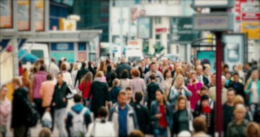 4K Crowd of People / Commuters Walking / Busy Street Footage