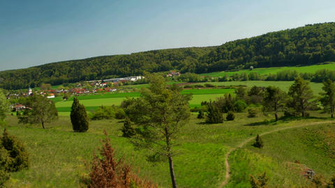 Panorama of the Altmuehltal in Germany Stock Video Footage