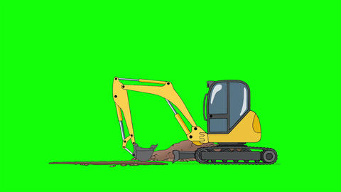Industrial Excavator Digging Hole Isolated on Green Screen Stock Video Footage