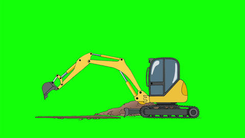 Industrial Excavator Digging Hole Isolated on Green Screen Animation