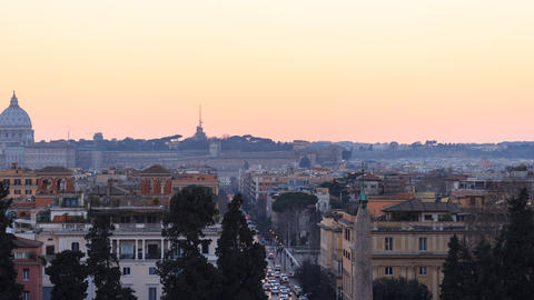 Piazza del Popolo. Zoom. Time Lapse. Rome, Italy Footage