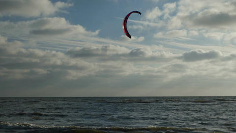 Kite Surfer on the Beach of St. Peter-Ording in Germany Footage