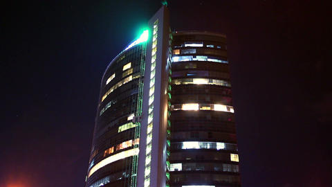 Time lapse night business center building, offices work shift Footage