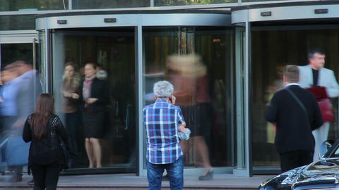 Office people come in out, business center entrance timelapse Footage