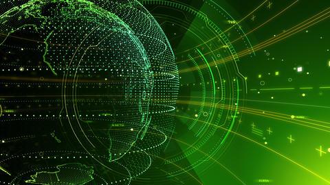 AI digital data network computer technology 3D illustration background 5 29 green Animation