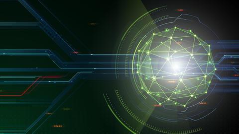 AI digital data network computer technology 3D illustration background 5 11 green Animation