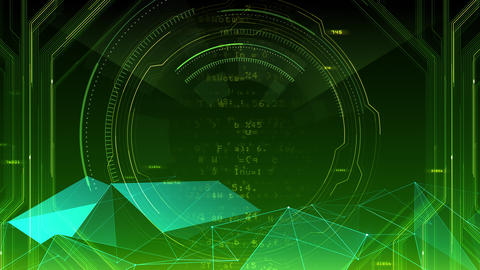AI digital data network computer technology 3D illustration background 5 07 green Animation