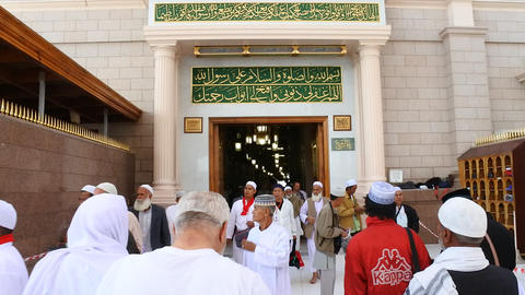 Pilgrims at the Nabawi Mosque at Medina,Saudi Arabia.Nabawi mosque originally built by the Islamic Live Action