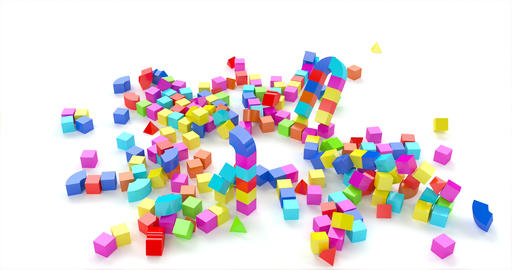 Toy town colored cubes in 3d style on red background. Blue, green, yellow color Live Action