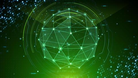 AI digital data network computer technology 3D illustration background 5 19 green Animation