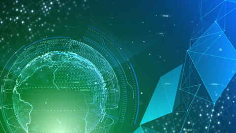 AI digital data network computer technology 3D illustration background 5 15 green Animation