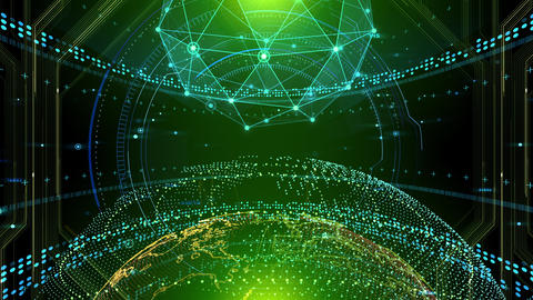 AI digital data network computer technology 3D illustration background 5 21 green Animation