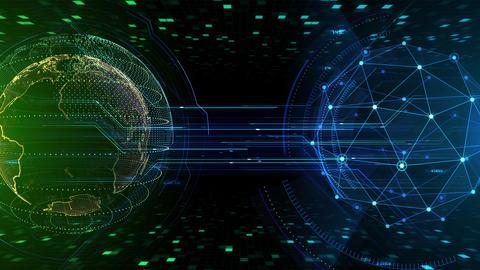 AI digital data network computer technology 3D illustration background 5 25 green Animation