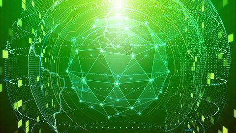 AI digital data network computer technology 3D illustration background 5 23 green Animation