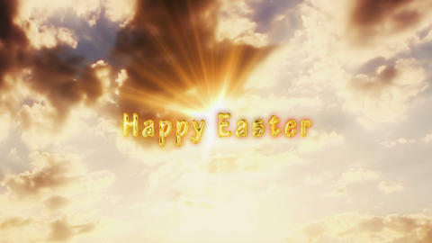 Happy Easter Golden Text in the Sky with Sun Light and Moving Clouds. Happy Easter Live Action