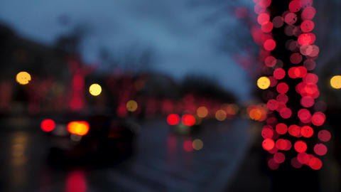 Out of focus lively christmas street, colorful bulbs, changing colors Live Action