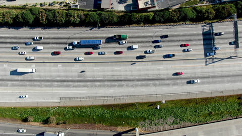 Aerial top view of highway with vehicle movement in Diamond Bar city, California Live Action