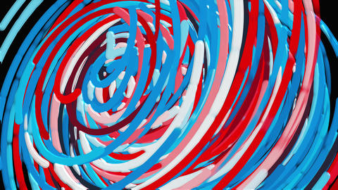 Bright colorful circle lines, cartoon style backdrop, computer generated modern Live Action