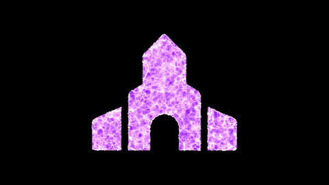 Symbol place of worship shimmers in three colors: Purple, Green, Pink. In - Out loop. Alpha channel Animation