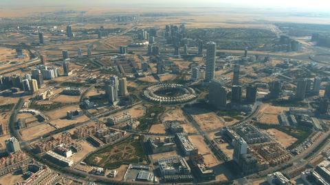 Jumeirah Village Circle, a community in Dubai, UAE. Aerial view Live Action