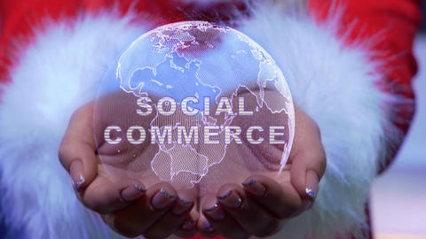 Hands holding planet with text Social commerce Live Action