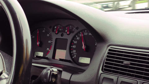 Dashboard of a car in operation Live Action