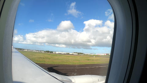 Commercial airplane landing in Guadeloupe, Caribbean Live Action