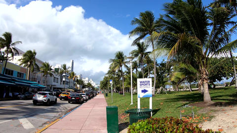360 degrees panorama of world famous Ocean Drive in South Beach Live Action