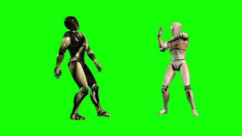 531 4k 3d Two animated avatar Robots dance together Animation