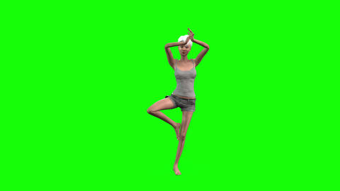 532 4k 3d animated beautiful slim avatar young girl performs yoga Animation