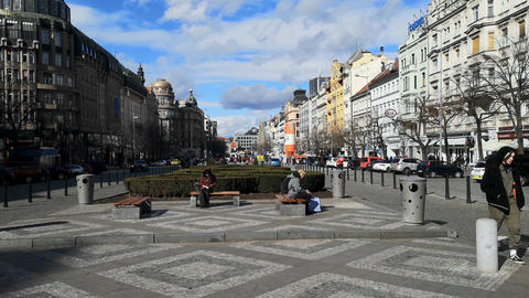 People tourists enjoy sunny day in san wenceslas square in prague,czech traffic Live Action