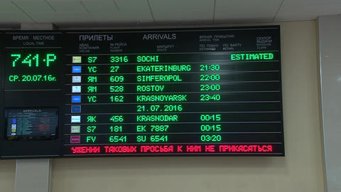 Departures board. Russian domestic airlines Footage