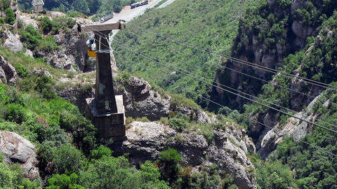 Mountain cableway car climbing up Footage
