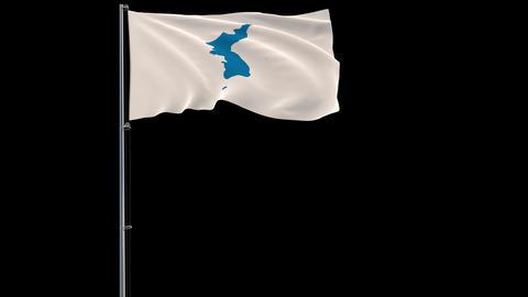 Unification flag of Korea flag on transparent background, 4k footage with alpha Animation