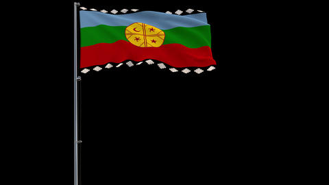 Mapuche flag on transparent background, 4k footage with alpha transparency Animation