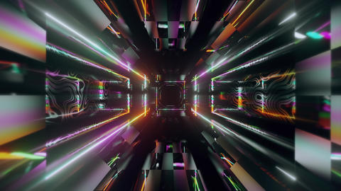 futuristic neon tunnel 3d render animation Animation