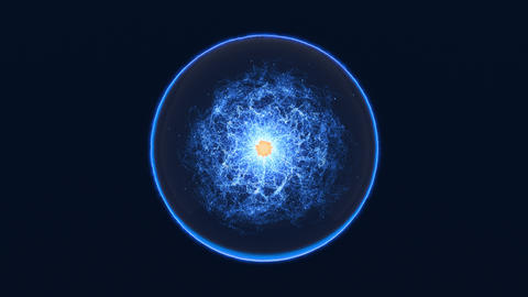 Magic blue sphere with moving orange core and energy inside Animation