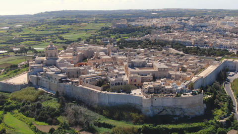 The famous medieval hilltop village of Medina in Malta Live Action