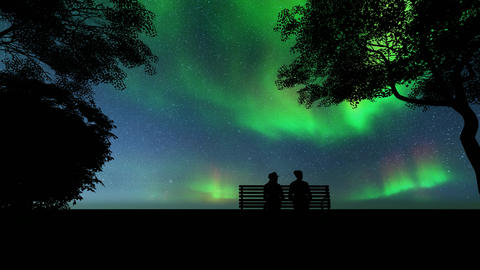 Silhouettes of girls. northern lights on light background Live Action