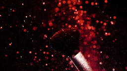 Red Colour, Paint Concept, Make up brush with Red Powder, Slow Motion Live Action