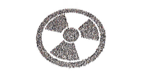 People gathering and forming nuclear symbol Animation