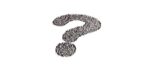 People gathering and forming question mark Animation