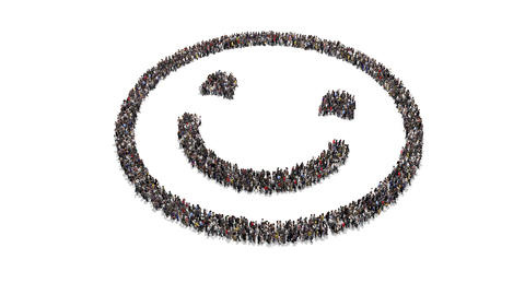 People gathering and forming Smile Animation