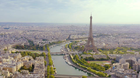 PARIS, FRANCE - MAY, 2019: Aerial drone view of historical city centre and Live Action