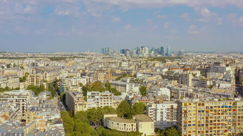 PARIS, FRANCE - MAY, 2019: Aerial drone skyline view of historical city centre Live Action