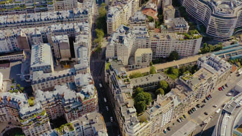 PARIS, FRANCE - MAY, 2019: Aerial drone view of historical city centre. Famous Live Action